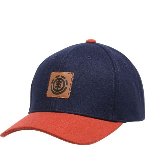 ELEMENT MENS CAP.TREELOGO WOOL NAVY BASEBALL CURVED PEAK ADJUSTABLE HAT 9W A4 18